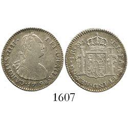 Guatemala, bust 1 real, Charles IV, 1798M.