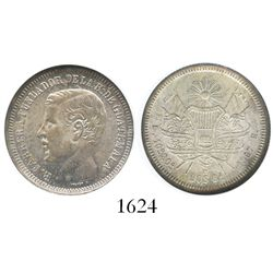Guatemala, 2 reales, 1867-R, Carrera, encapsulated NGC MS 63.