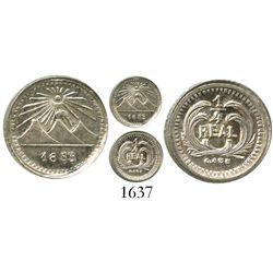 Guatemala, 1/4 real, 1883, key date.