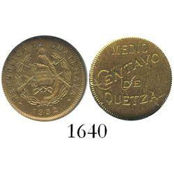 Guatemala, proof brass 1/2 centavo, 1932, encapsulated NGC PF 63, ex-Whittier.