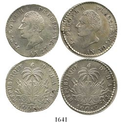 Lot of 2 Haiti 100 centimes, AN 27 and AN 30 (1830 and 1833).