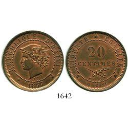 Haiti, copper essai 20 centimes, 1877.