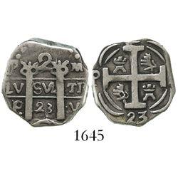"Honduras, ""imitation cob"" 2 reales, 1823-PMPY, ""owl-face"" style, rare."
