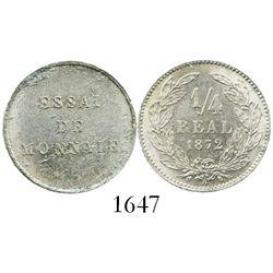 Honduras (struck in Paris), aluminum essai 1/4 real, 1872-A, plain edge.