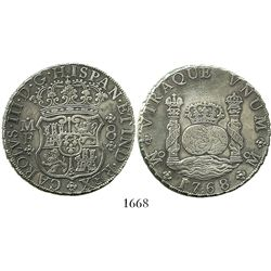 Mexico City, Mexico, pillar 8 reales, Charles III, 1768MF, rare variety with : in middle of date (17