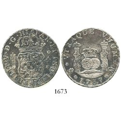 Mexico City, Mexico, pillar 4 reales, Philip V, 1737MF.