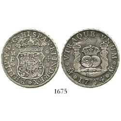 Mexico City, Mexico, pillar 4 reales, Philip V, 1744MF, with chopmarks as from circulation in the Or
