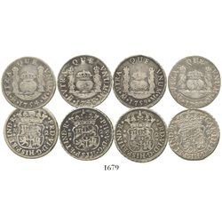 Lot of 4 Mexico City, Mexico, pillar 2 reales of Philip V, Ferdinand VI and Charles III: 1746M, 1754