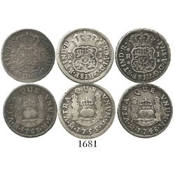 Lot of 3 Mexico City, Mexico, pillar 1R of Philip V and Ferdinand VI: 1746M, 1755M and 1761M.