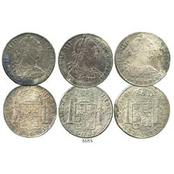 Lot of 3 Mexico City, Mexico, bust 8 reales of Charles III, dated 1776FM, 1777FM and 1778FF.