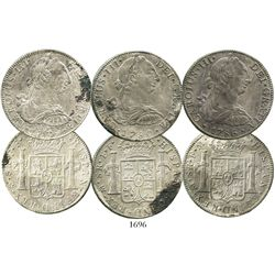 Lot of 3 Mexico City, Mexico, bust 8 reales of Charles III, dated 1779FF, 1780FF and 1786FM.
