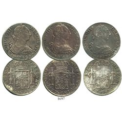 Lot of 3 Mexico City, Mexico, bust 8 reales of Charles III, dated 1782FF, 1786FM and 1787FM.