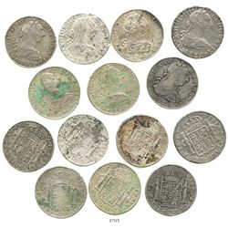 Lot of 7 Mexico City, Mexico, bust 8 reales of Charles III and Charles IV transitional, dated 1780FF