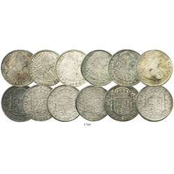 Lot of 6 Mexico City, Mexico, bust 8 reales of Charles IV, dated 1791FM, 1794FM, 1795FM (2), 1796FM
