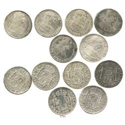 Lot of 6 Mexico City, Mexico, bust 8 reales of Charles IV, dated 1793FM, 1794FM, 1795FM, 1796FM, 179
