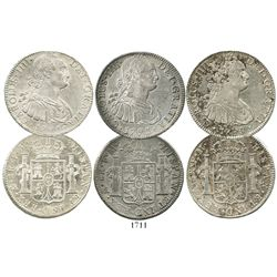 Lot of 3 Mexico City, Mexico, bust 8 reales of Charles IV, dated 1791FM, 1793FM and 1798FM.