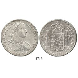 "Mexico City, Mexico, bust 8 reales, Ferdinand VII (transitional ""armored"" bust), 1809TH."