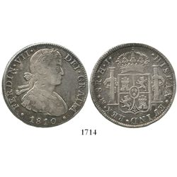 "Mexico City, Mexico, bust 8 reales, Ferdinand VII (transitional ""armored"" bust), 1810/09HJ."