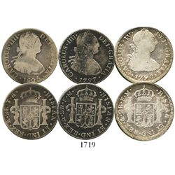 Lot of 3 Mexico City, Mexico, bust 2 reales of Charles IV: 1790FM (bust of Charles III), 1797FM and