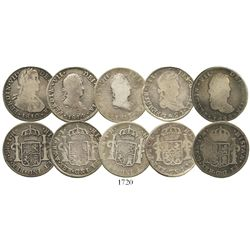 Lot of 5 Mexican bust 2R of Ferdinand VII (including War of Independence issues): Mexico City, 1810T