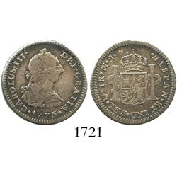 Mexico City, Mexico, bust 1 real, Charles III, 1773FM, initials facing rim.
