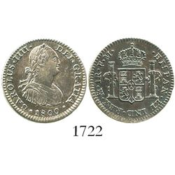 Mexico City, Mexico, bust 1 real, Charles IV, 1800FM.