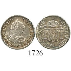 Mexico City, Mexico, bust 1/2 real, Charles III, 1781FF.