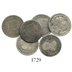 Lot of 6 Mexico City, Mexico, bust 1/2R, Charles III and IV, various dates (1772FM [initials facing