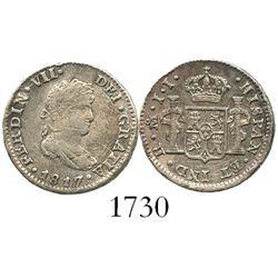 Mexico City, Mexico, bust 1/2 real, Ferdinand VII, 1817JJ.
