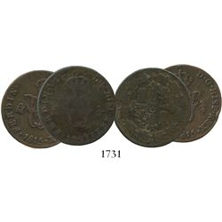 Lot of 2 Mexico City, Mexico, copper 2/4 senal (1/4 real), 1815 and 1821.