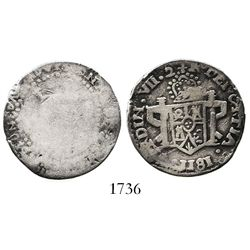 Zacatecas, Mexico, 2 reales, Ferdinand VII, 1811(LVO), flowers and castles in shield, error with GRT