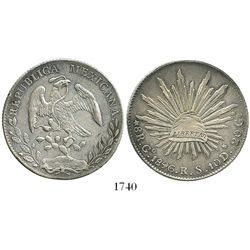 Guanajuato, Mexico, cap-and-rays 8 reales, 1896/5RS.