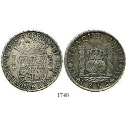 Lima, Peru, pillar 8 reales, Ferdinand VI, 1752J, rare.