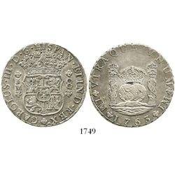 Lima, Peru, pillar 8 reales, Charles III, 1763JM, dot over both mintmarks.