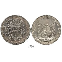 Lima, Peru, pillar 8 reales, Charles III, 1764JM, dot over both mintmarks.