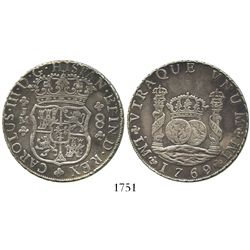 Lima, Peru, pillar 8 reales, Charles III, 1769/8JM, very rare overdate (missing in Gilboy), dot over