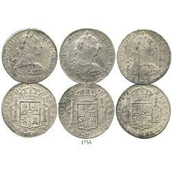 Lot of 3 Lima, Peru, bust 8 reales of Charles III, dated 1780MI, 1787IJ and 1788IJ.