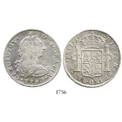 Lima, Peru, bust 8 reales, Charles IV transitional (bust of Charles III, ordinal IV), 1790IJ.