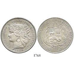 Lima, Peru, 5 pesetas, 1880-B, no dot after B.