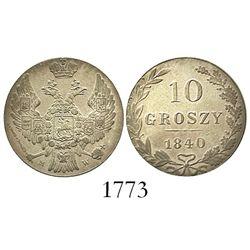 Poland, 10 groszy, 1840-MW.