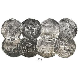 Lot of 4 Lisbon, Portugal, tostaos (100 reis), Phillip II or III (late 1500s to early 1600s), with L