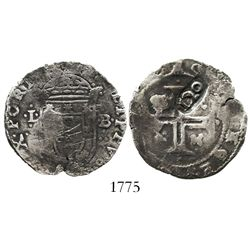 "Portugal, 120 reis, ""120"" countermark (1642), Joao IV, on a Philip II or III tostao (100 reis) of th"