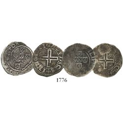 Lot of 2 Lisbon, Portugal, meio tostaos (50 reis), Phillip II or III (late 1500s to early 1600s).