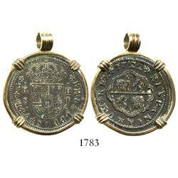 "Seville, Spain, milled 2 reales ""pistareen,"" Philip V, 1722J, mounted in 14K gold necklace-bezel."