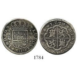 "Madrid, Spain, milled 2 reales ""pistareen,"" Louis I, 1724A."