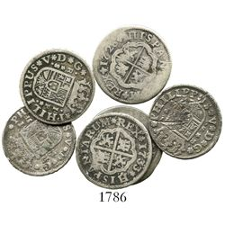 "Lot of 6 Spanish milled 1R ""pistareens"" of Philip V, various mints and dates (1726-1737)."
