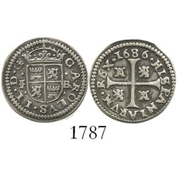 "Segovia, Spain, milled 1/2 real ""quarter pistareen,"" Charles II, 1686BR."
