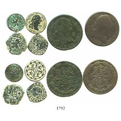 Small type-collection of 6 miscellaneous Spanish copper coins: Ferdinand-Isabel Seville blanca; Phil