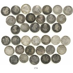 Lot of 18 Spanish colonial bust 1R of Charles III, Charles IV and Ferdinand VII, various dates and m