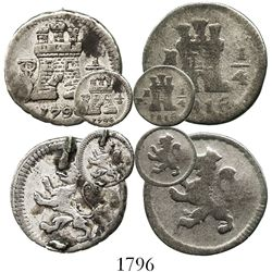 Lot of 2 Spanish colonial milled 1/4R: Potosi, Bolivia, Charles IV, 1796; Popayan, Colombia, Ferdina